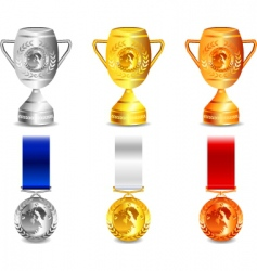 Winner medals and cups vector