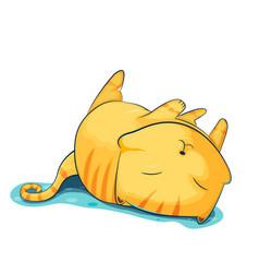 Orange cat cute cartoon sleep vector