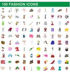 100 fashion icons set cartoon style vector image