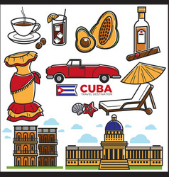 Cuba travel sightseeing icons and havana vector