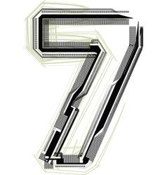 technological font Number 7 vector image