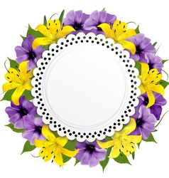 Greeting Card With Beautiful Flowers vector image