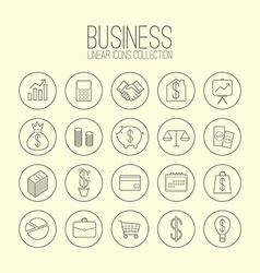 Business linear icons collection vector