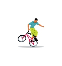 The young man carries out trick on a bicycle bmx vector