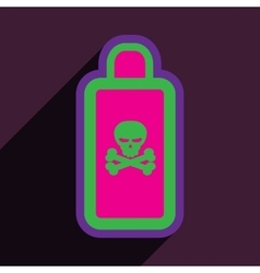 Flat with shadow icon of poison on a colored vector
