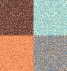 Set of outlined calligraphic seamless patterns vector