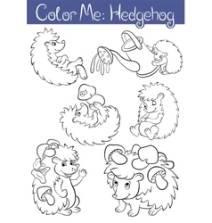 Set of seven little cute hedehoges vector