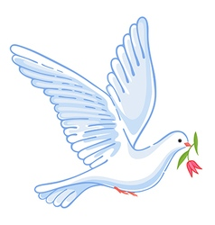 Soaring dove with flower vector