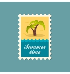 Palm tree stamp summer vacation vector