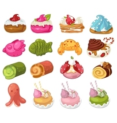 Desserts and sweets decorative icons set vector image
