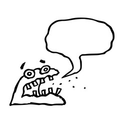 Angry jelly monster sponge screams speech bubble vector