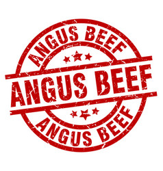 Angus beef round red grunge stamp vector