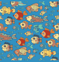 Blue doodle children fish pattern vector