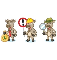 Burly wood goat mascot with money vector
