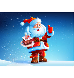 Cake in the hands of santa claus vector