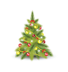 christmas tree with fir vector image