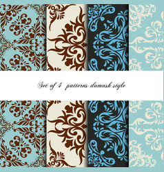collection 4 seamless pattern vintage style vector image vector image