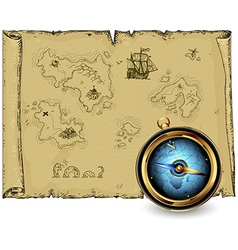 Compass with ancient map vector