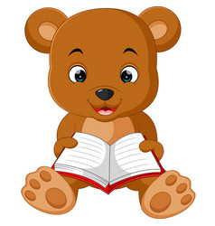 cute bear reading book cartoon vector image vector image