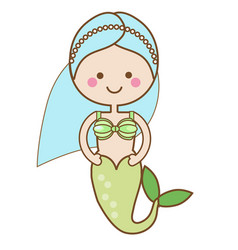 cute kawaii mermaid character in cartoon style vector image