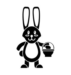 Easter bunny with basket egg pictogram vector