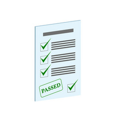 Exam pass symbol flat isometric icon or logo 3d vector