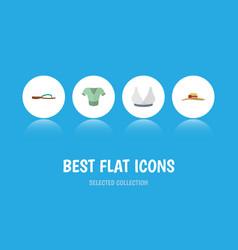 Flat icon dress set of elegant headgear beach vector