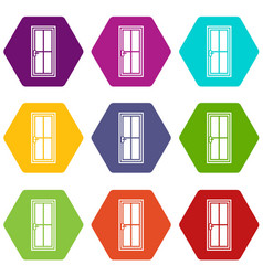 glass door icon set color hexahedron vector image