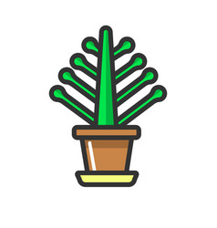 Green indoor plant without bloom clay pot isolated vector