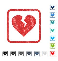 Heart break icon rubber watermark vector