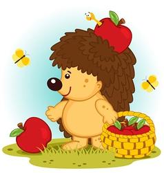 Hedgehog with basket of apples vector