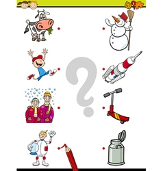 Match pictures task for kids vector