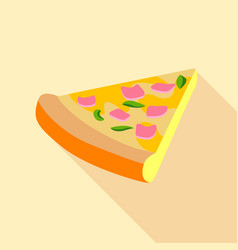 Pizza with greens and ham icon flat style vector