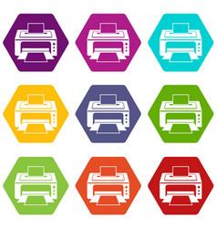 printer icon set color hexahedron vector image vector image