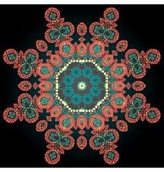 Red coloured ornamental mandala on black vector image