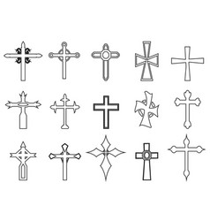 religious cross outline icons vector image vector image