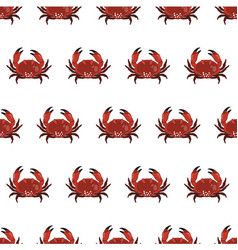 seamless pattern with crab in cartoon style vector image