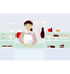 Seller in bakery vector
