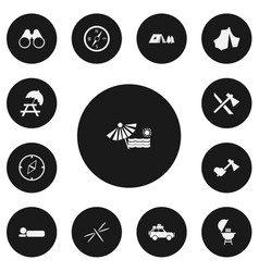 Set of 13 editable camping icons includes symbols vector