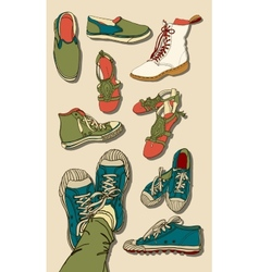 Set of Cartoon Shoes vector image