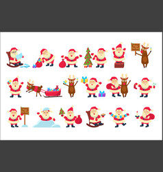 set with funny santa claus in different poses vector image