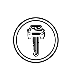 Silhouette circular border with key in car shape vector