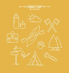 summer camp icons vector image