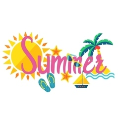 Summer lettering isolated on white background vector image vector image