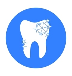 Tooth with diamond icon in black style isolated on vector