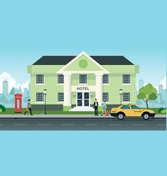 tourists stay hotel vector image