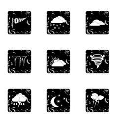 Weather icons set grunge style vector