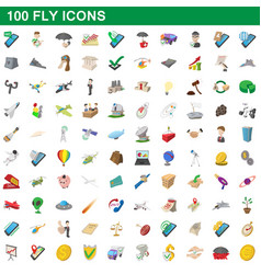 100 fly icons set cartoon style vector