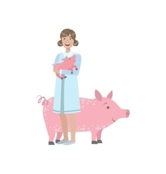 Woman in white gown holding a piglet with adult vector