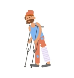 Homeless with leg in a plaster cast vector